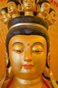 Kuan yin's face statue Stock Photos