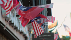 US Flags in Chinatown, Los Angeles Stock Footage