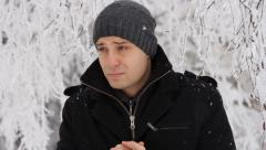 Man Coughing Outside Cold Weather Winter Sickness Stock Footage