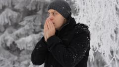Young Man Coughing Winter Outdoors Freezing Hands Stock Footage