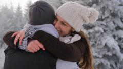 Happy Young Couple Hugging Outdoors Nature Winter Snow - stock footage