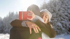 Holyday Cheer Young Couple Surprise Present Christmas Concept Stock Footage