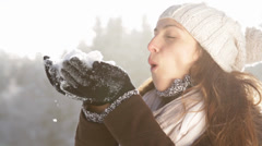 Pretty Young Woman Fashion Scarf Snow Outdoors Winter Joy - stock footage