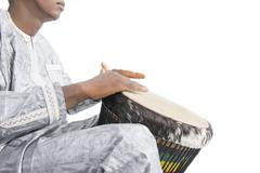 Real djembe player - stock photo