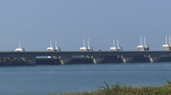 Panoramic view Oosterscheldekering, Eastern Scheldt storm surge barrier Stock Footage