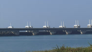 Stock Video Footage of panoramic view Oosterscheldekering, Eastern Scheldt storm surge barrier