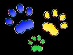 Cat family at night - Neon effect - stock illustration