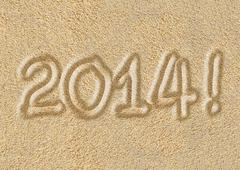 Happy New Year 2014 - Post card - stock illustration