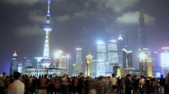 Shanghai Oriental Pearl at night,busy tourist,crowd,Lujiazui business center. Stock Footage