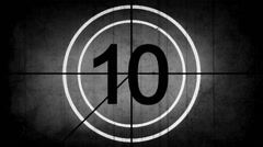 Countdown Leader Graphic 10 - 0, With Film Burn & Rolling Effect - stock footage