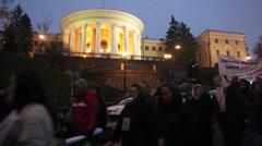 Demonstrators in Kiev - stock footage