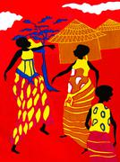 Scene of traditional life on a piece of a red cotton fabric, Senegal, Africa Stock Photos