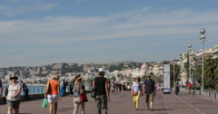 Ultra HD 4K Nice Mediterranean Sea French Riviera Negresco Hotel Tourist Walking Stock Footage