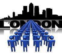 lines of people with london docklands skyline illustration - stock illustration