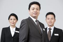 Portrait of ambitious business team - stock photo