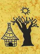 Scene of traditional life on a piece of a cotton fabric, Senegal, Africa - stock photo