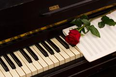 One red rose with notes paper on piano Stock Photos