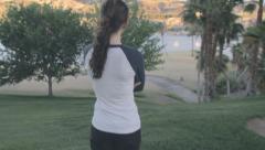 Girl Runner Looking Stock Footage