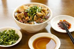 Chinese traditional food sheep's haslet soup Stock Photos