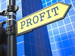 Stock Illustration of Profit. Yellow Roadsign.