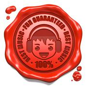 Fun Guaranteed, Best Music - Red Wax Seal. - stock illustration