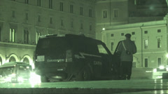 Italian police on guard (Infrared Night Vision) Stock Footage