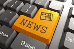 News Concept on Orange Keyboard Button. - stock illustration