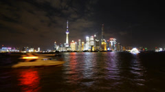Time lapse Shanghai bund at night,Brightly lit world financial center building. Stock Footage