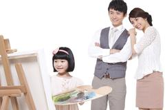 Stock Photo of Little girl painting in front of parents