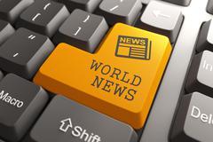 World News Concept on Orange Keyboard Button. - stock illustration