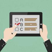 Hands with a select choice on tablet , eps10 vector format - stock illustration