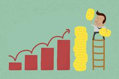 Success metaphor depicted with coins , eps10 vector format Stock Illustration