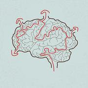 brain maze with correct path , Vector - stock illustration