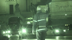 Italian police directing traffic in Rome (Infrared Night Vision) Stock Footage