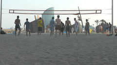 City Beach Volleyball Stock Footage