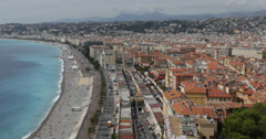 UHD Ultra HD 4K Aerial View Nice French Riviera Car Traffic Tourist Visiting Day Stock Footage