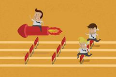 Business persons reaching the goal in a race , eps10 vector format - stock illustration