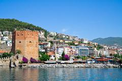 Fortress tower in alanya Stock Photos