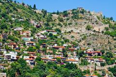 Turkish houses in alanya Stock Photos
