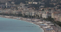 Ultra HD 4K Aerial View Negresco Hotel French Old Town Nice Skyline Cote D'Azur Stock Footage