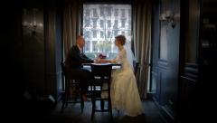 Wedding couple in a prestigious restaurant Stock Footage