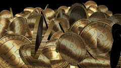 Many Gold bitcoin coins flying in air,Virtual Currency. Stock Footage
