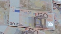 Full frame video shot of European euro Stock Footage