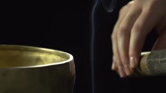 Tibetian singing bowl Stock Footage