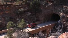 Two Cars Exit Tunnel - Zion National Park, Utah Stock Footage