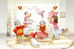 Family celebrating Chinese New Year Stock Illustration