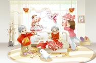 Stock Illustration of Family celebrating Chinese New Year