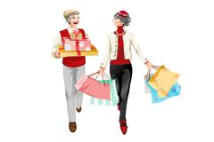 Stylish senior couple go shopping - stock illustration