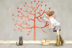 Young girl painting love tree - stock illustration