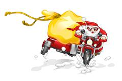 Santa Claus sending gifts by motorbike Stock Illustration